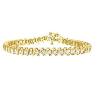 14K Yellow Gold 3 ct. TDW Round Cut Diamond Spiral Link Bracelet (H-I, SI2-I1)