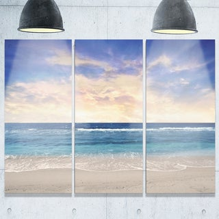 Clear Blue Sky and Ocean at Sunset - Extra Large Seascape Metal Wall Art - 36Wx28H (As Is Item)