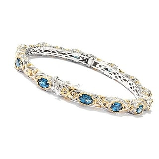 One-of-a-kind Michael Valitutti Palladium Silver London Blue Topaz Bangle