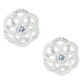 One-of-a-kind Michael Valitutti Sterling Silver Cubic Zirconia Love Knot Stud Earrings