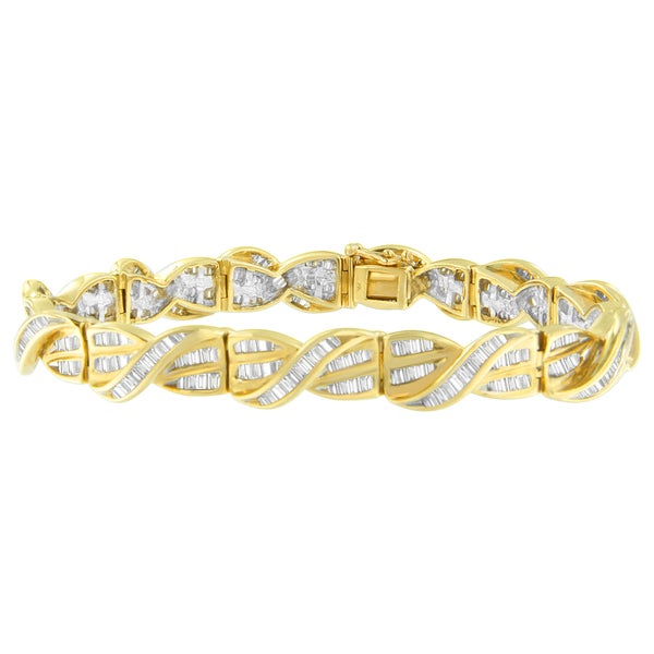 diamond tennis round and baguette large bracelet