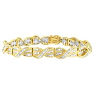 14K Yellow Gold 3ct TDW Baguette Cut Diamond Bracelet (H-I, I1-I2)