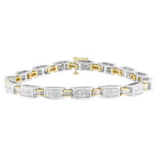 14K Two-Tone Gold 3ct TDW Princess and Baguette Cut Diamond links Bracelet (H-I, SI1-SI2)