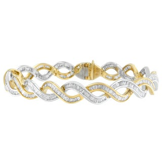 10K Two-Tone Gold 5ct TDW Baguette Cut Diamond Spiral links Bracelet (I-J, SI2-I1)
