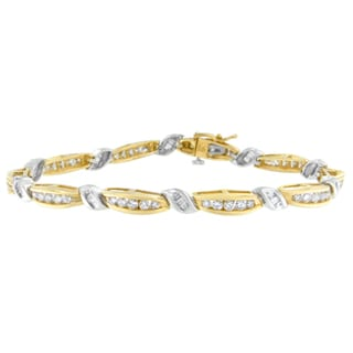 14K Two-Tone Gold 3ct TDW Round and Baguette Cut Diamond Love Knot Bracelet (H-I, I1-I2)