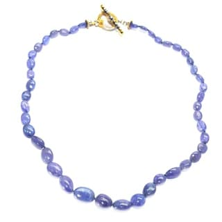 One-of-a-kind Michael Valitutti Palladium Silver Trumbled Tanzanite and Blue Sapphire Necklace