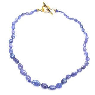 Michael Valitutti Palladium Silver Trumbled Tanzanite and Blue Sapphire Necklace