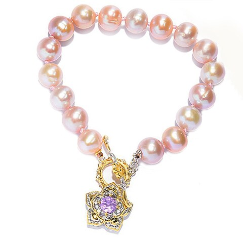 One-of-a-kind Michael Valitutti Palladium Silver Lavender Pearl and Pink Amethyst Bracelet