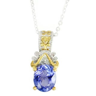 One-of-a-kind Michael Valitutti Palladium Silver Tanzanite and Diamond Pendant