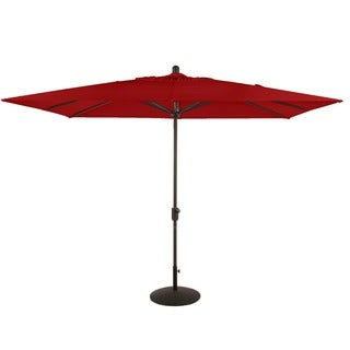 La Jolla Grey Aluminum Elastic Rectangular Market Umbrella