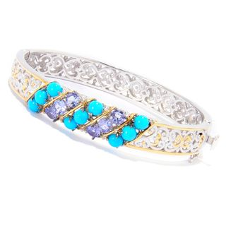 One-of-a-kind Michael Valitutti Palladium Silver Sleeping Beauty Turquoise and Tanzanite Bracelet
