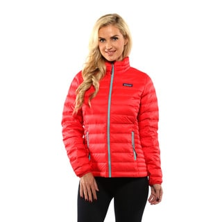 Patagonia Women's French Red with Mogul Blue Down Sweater Jacket