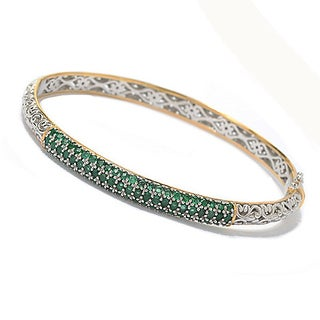 One-of-a-kind Michael Valitutti Palladium Silver Emerald Bangle Bracelet