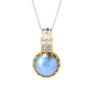 One-of-a-kind Michael Valitutti Palladium Silver Peacock Mabe Pearl and Tanzanite Pendant