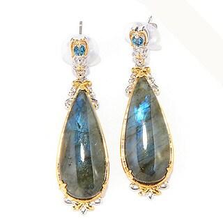 One-of-a-kind Michael Valitutti Silver Labradorite & London Blue Topaz Teardrop Earrings
