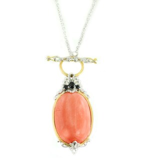 One-of-a-kind Michael Valitutti Palladium Silver Salmon Coral and Black Spinel Pendant