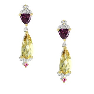 One-of-a-kind Michael Valitutti Palladium Silver Zambian Citrine, Rhodolite and Pink Tourmaline Earrings