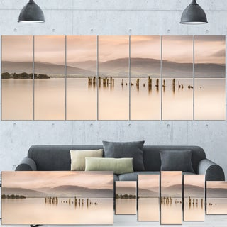 Designart 'Loch Lomond Jetty and Mountains' Extra Large Landscape Wall Art Print Canvas