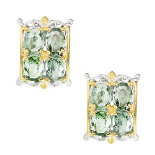 One-of-a-kind Michael Valitutti Palladium Silver Green Sapphire Stud Earrings