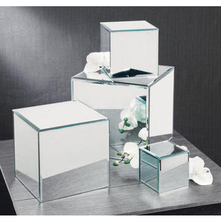Square Glass Mirrored Pedestal (Pack of 4)
