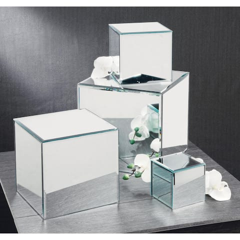 Square Glass Mirrored Pedestals