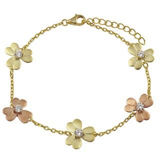 Luxiro Two-tone Sterling Silver Cubic Zirconia Flower Bracelet