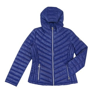 Michael Kors Women's Blue Down/Nylon Chevron Quilted Packable Jacket