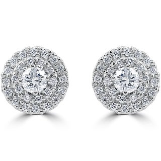14k White Gold 7/8 ct TDW Diamond Double Halo Studs (E-F, VS1-VS2)