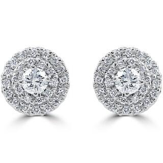 14k White Gold 7/8 ct TDW Diamond Double Halo Studs