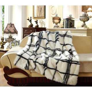 De Moocci Luxury Faux Fur Checkered Throw