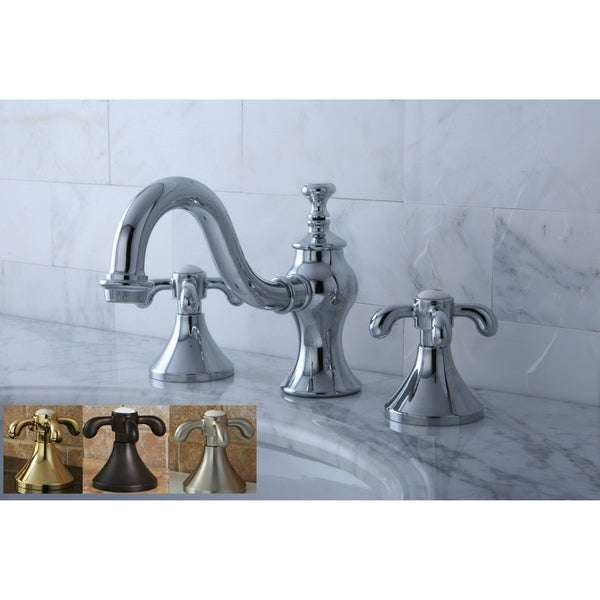 Victorian Widespread Bathroom Faucet With Small Porcelain Cross Handles: Shop Victorian Teardrop Cross Widespread Bathroom Faucet