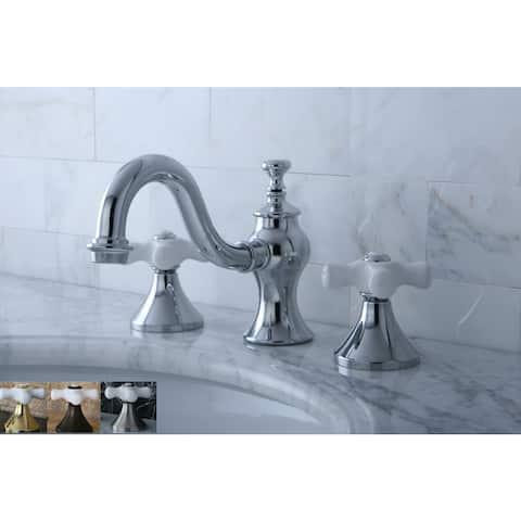 Victorian Porcelain Cross Widespread Bathroom Faucet
