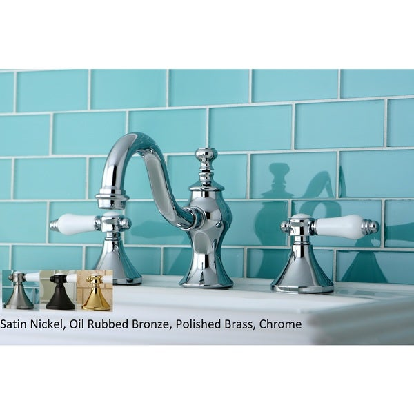 Victorian Widespread Bathroom Faucet With Small Porcelain Cross Handles: Shop Victorian Porcelain Widespread Bathroom Faucet