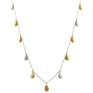 Luxiro Tri-color Sterling Silver Teardrops Station Necklace