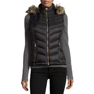 Michael Kors Women's Black Nylon Hooded Puffer Vest