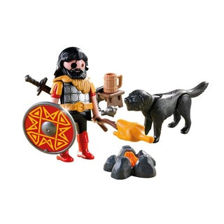 Playmobil Barbarian With Dog at Campfire Set