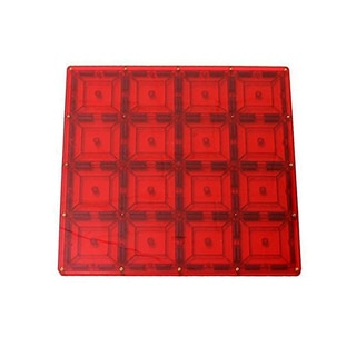 ShapeMags Red Plastic 12-inch x 12-inch Building Plate Magnetic Tile Set