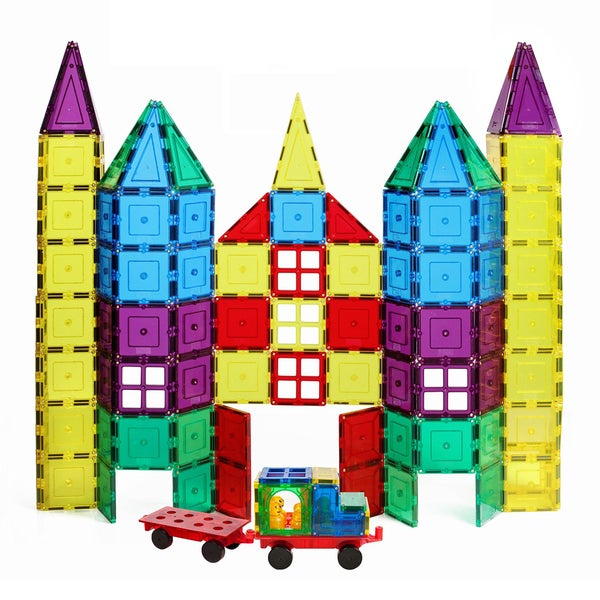 ShapeMags 100-piece Assorted Colors Plastic 3D Magnetic Tiles With 2 Car Bases