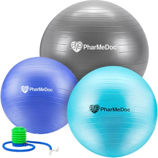 PharMeDoc Exercise Ball with Hand Pump Gym Quality Anti-Burst Non-Slip Tone Abs Perfect for Physical Therapy