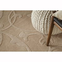 Artist's Loom Hand-Tufted Contemporary Solid Pattern Wool Rug (5'x7')
