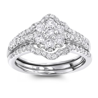Luxurman 14K White Gold 1.11ct TDW Cluster Diamond Trio Engagement Ring Set (G-H; SI1-SI2)