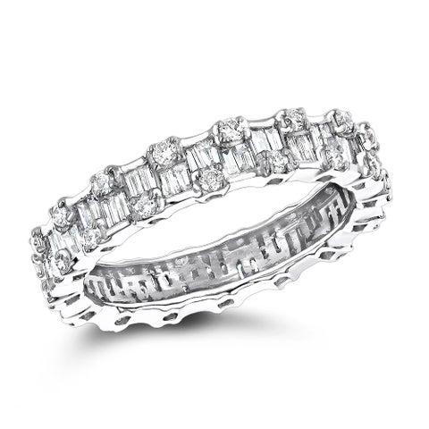 Luxurman 18K White Gold 1.29ct TDW Diamond Eternity Ring