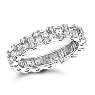 Luxurman 18K White Gold 1.29ct TDW Diamond Eternity Ring (F-G; VS1-VS2)