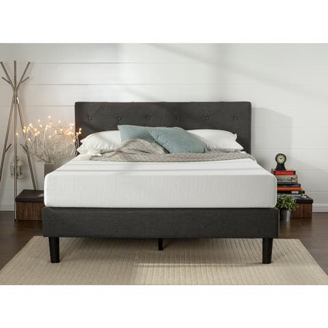 Priage By Zinus King Size Upholstered On Tufted Diamond Sched Platform Bed