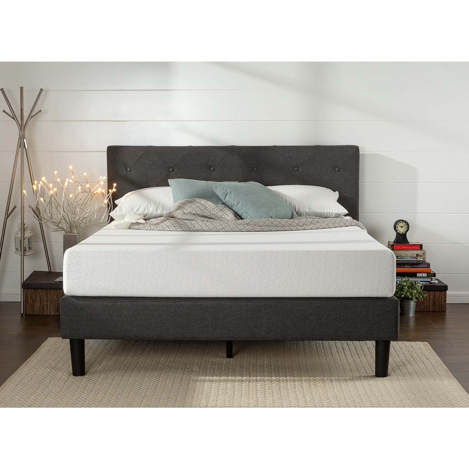 Priage By Zinus King Size Upholstered Button Tufted Diamond Stitched  Platform Bed