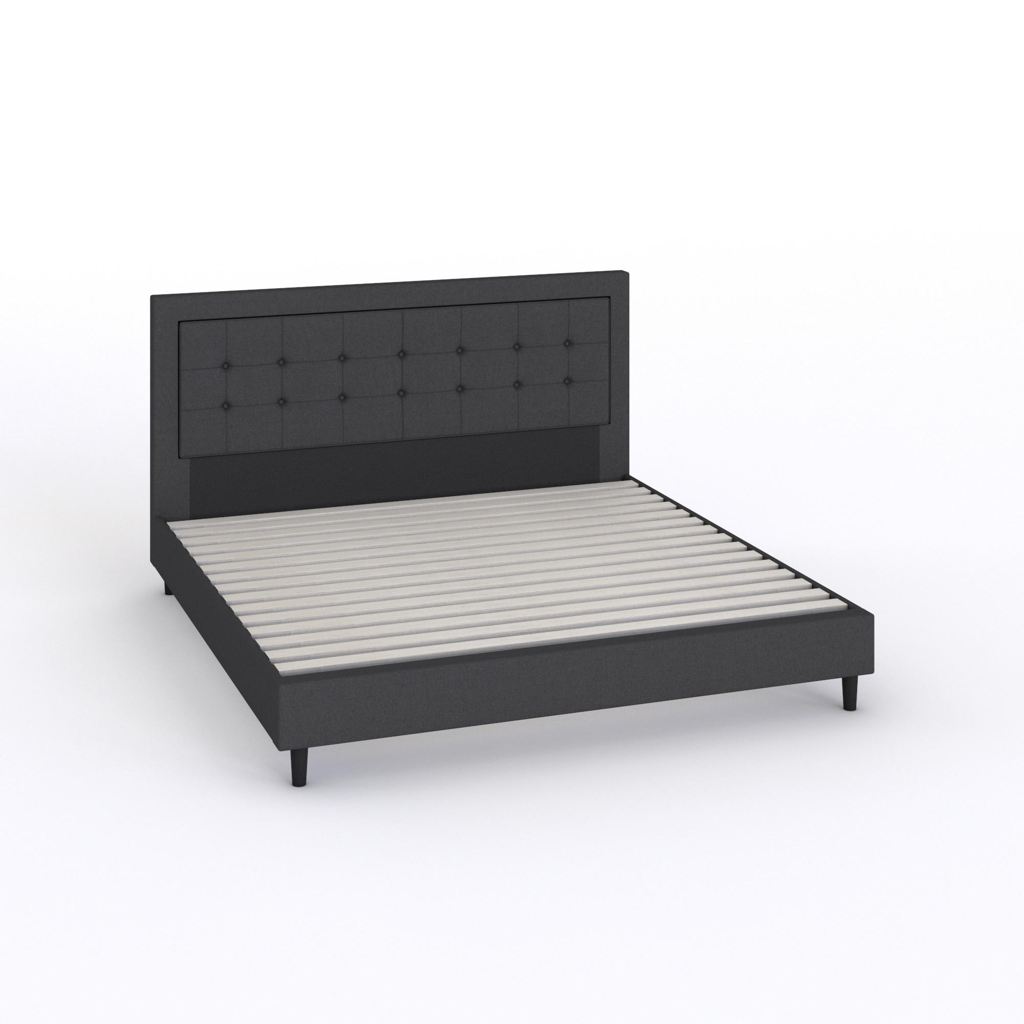 Leonidas Belfast Button Tufted Grey Upholstered King-size Platform Bed