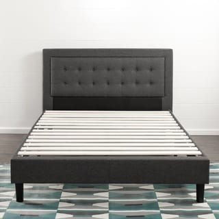 Priage Button Tufted Grey Upholstered King-size Platform Bed