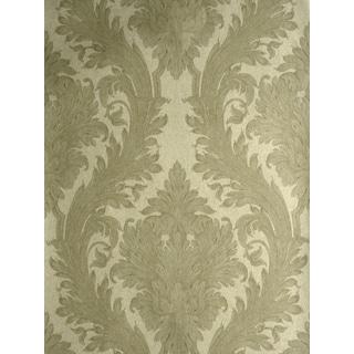 Brewster Vincenzo Beige Linen Damask Wallpaper