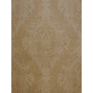 Brewster Vincenzo Gold Linen Damask Wallpaper