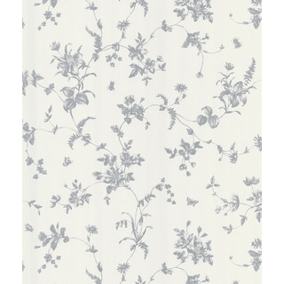 Brewster Vivace Silver Floral Trail Wallpaper